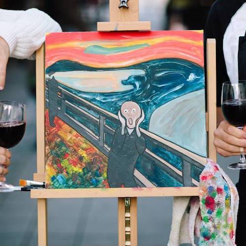 Maling og vinsmaking hos Paint'n sip